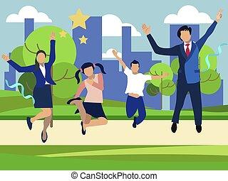 joyeux, children., fond, dessin animé, plat, parc, jumping., minimaliste, famille, style., maman, vecteur, deux, papa
