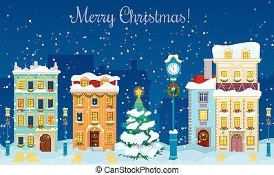 joyeux, cityscape, card., vecteur, maisons, arbre, noël, fond, chute neige, salutation