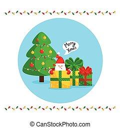 joyeux, claus, salutation, santa, noël carte