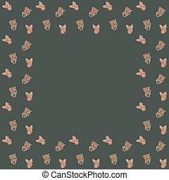 joyeux, coups, cadre, arrière-plan., graphique, enfants, singes, araignés, caractères, vector., carrée, design., fennec, dessin animé, renards, blanc, couverture, africaine, green-gray