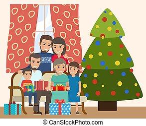 joyeux, famille, joyeux, année, hiver, noël, arbre., année, nouveau, fetes, heureux