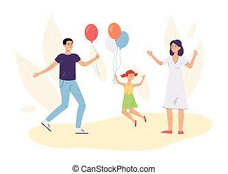 joyeux, famille, plat, illustration., toile de fond, contre, ballons, vecteur, feuilles