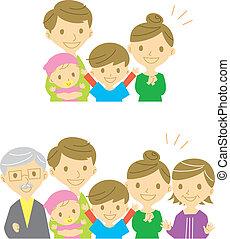 joyeux, famille, sourire