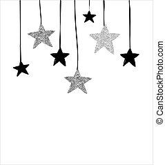 joyeux, -, moderne, noël, étoiles, arrière-plan noir, guirlandes, propre, argent