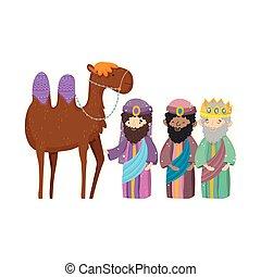 joyeux, nativité, sage, chameau, mangeoire, noël, rois, trois