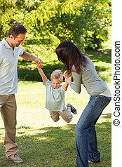 joyeux, parc, famille