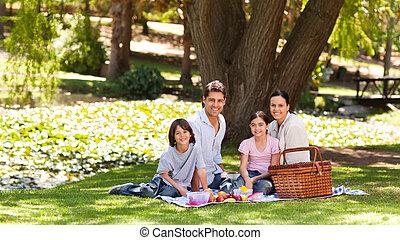 joyeux, parc, famille, pique-niquer