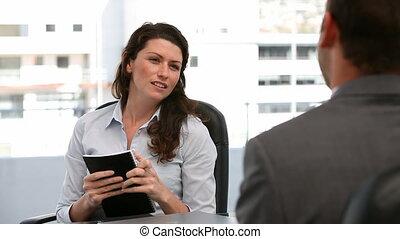joyeux, réunion, femme affaires