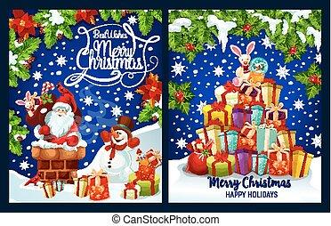 joyeux, salutation, vecteur, présent, santa, noël carte