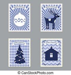 joyeux, vecteur, illustration, timbres, ensemble, dons, affranchissement, deer., retro, arbre, isolé, noël