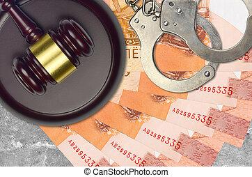 judiciaire, concept, belorussian, police, juge évaluation, factures, impôt, ou, tribunal, 5, menottes, marteau, desk., bribery., rubles, action éviter