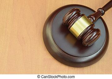 judiciaire, concept, bois, trial., justice, maillet, droit & loi, salle audience, marteau, text., espace, juge, bureau, vide, pendant