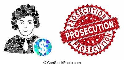 juge, accusation, mosaïque, corrompu, cachet, détresse