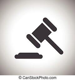 juge, enchère, marteau, ou, icône