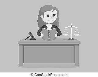 juge, femme, livre, lecture, droit & loi