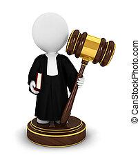 juge, gens, 3d, blanc