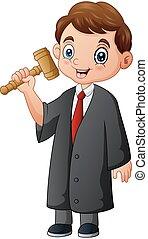 juge, main, dessin animé, marteau, tenue