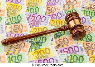 juge, marteau, billets banque, euro