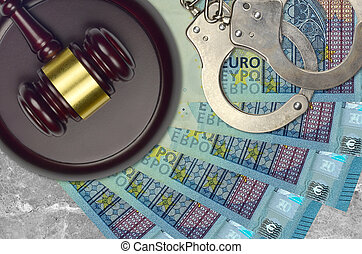 juge, marteau, factures, euro, 20, police, menottes, procès, judiciaire, concept, bribery., desk., ou, action éviter, impôt, tribunal