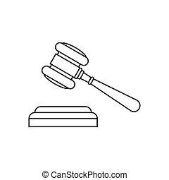 juge, marteau, ligne, icône