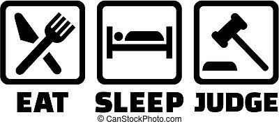 juge, marteau, sommeil, manger