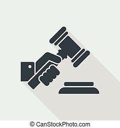 juge, marteau, tenant main
