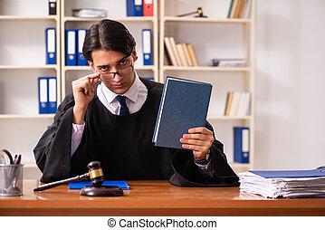 juge, tribunal, jeune, fonctionnement, beau