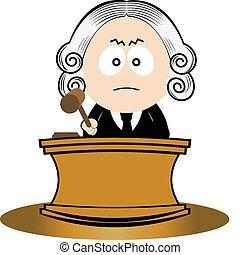 juge, utilisation, sien, marteau