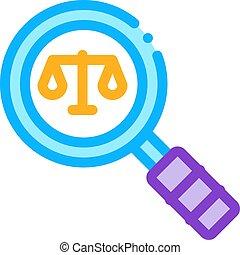jugement, tribunal, vecteur, icône, droit & loi, illustration, loupe