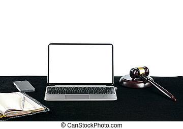 juges, copyspace, bois, texte, ordinateur portable, lumière, marteau