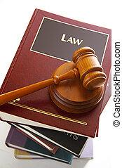 juges, légal, livres, tas, marteau, droit & loi