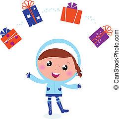 jugglery, hiver, isolé, mignon, brin, enfant, noël dons