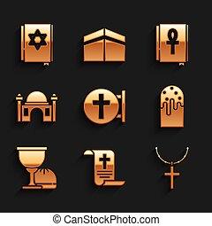 juif, décret, parchemin, vecteur, croix, gâteau, paques, ensemble, livre, chaîne, ou, mosquée, grail, croix, rouleau, saint, calice, icon., papier, chrétien, musulman, ankh, torah