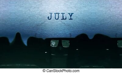 juillet, vendange, mots, vieux, dactylographie, feuille, typewriter., papier