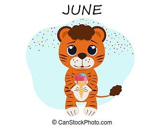 juin, cream., petit, mois, illustration, tigre, glace