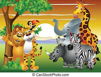 jungle, animal, dessin animé