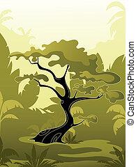 jungle, arbre, vert