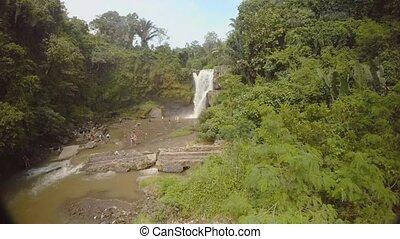 jungle, bali, océan, chute eau, 5, indien, île