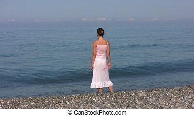 jupe, femme, plage, stands, transparent