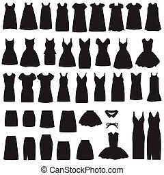 jupe, silhouette, robe