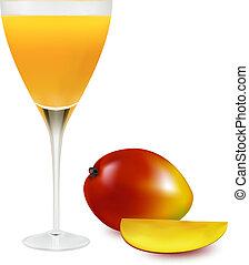 jus, frais, verre., vecteur, mangue