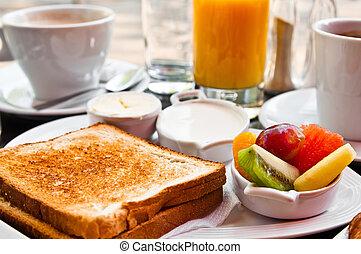 jus, fruits frais, orange, table, petit déjeuner