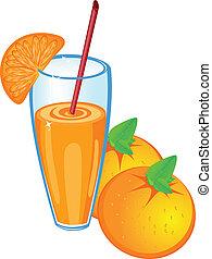 jus orange, fruit, isolé