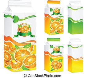 jus orange, paquets