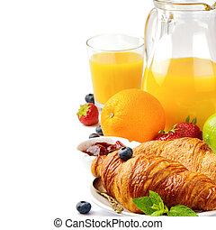 jus orange, petit déjeuner, frais, croissants