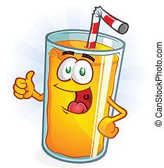 jus orange, pouces, dessin animé, haut