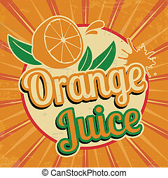 jus orange, vendange, affiche