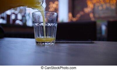 jus, table, verre, verser, orange
