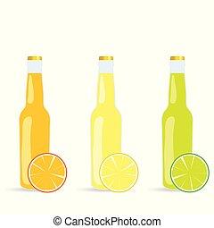 jus, vecteur, bouteille, illustration