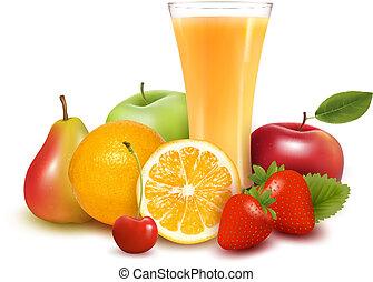 jus, vecteur, fruit frais